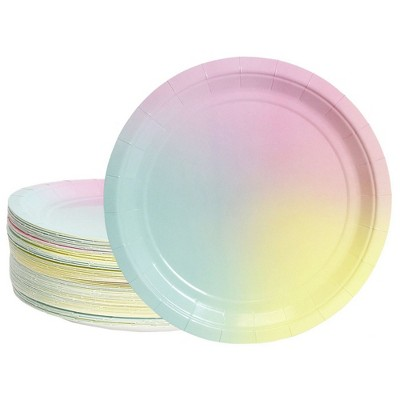 """Blue Panda 80-Pack Pastel Rainbow Disposable Paper Plates 9"""" Birthday Party Supplies"""