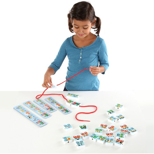 Melissa & Doug Alphabet Train Lacing Beads - 27 Wooden Train Beads, 6 Pattern Cards, and 1 Lace image number null
