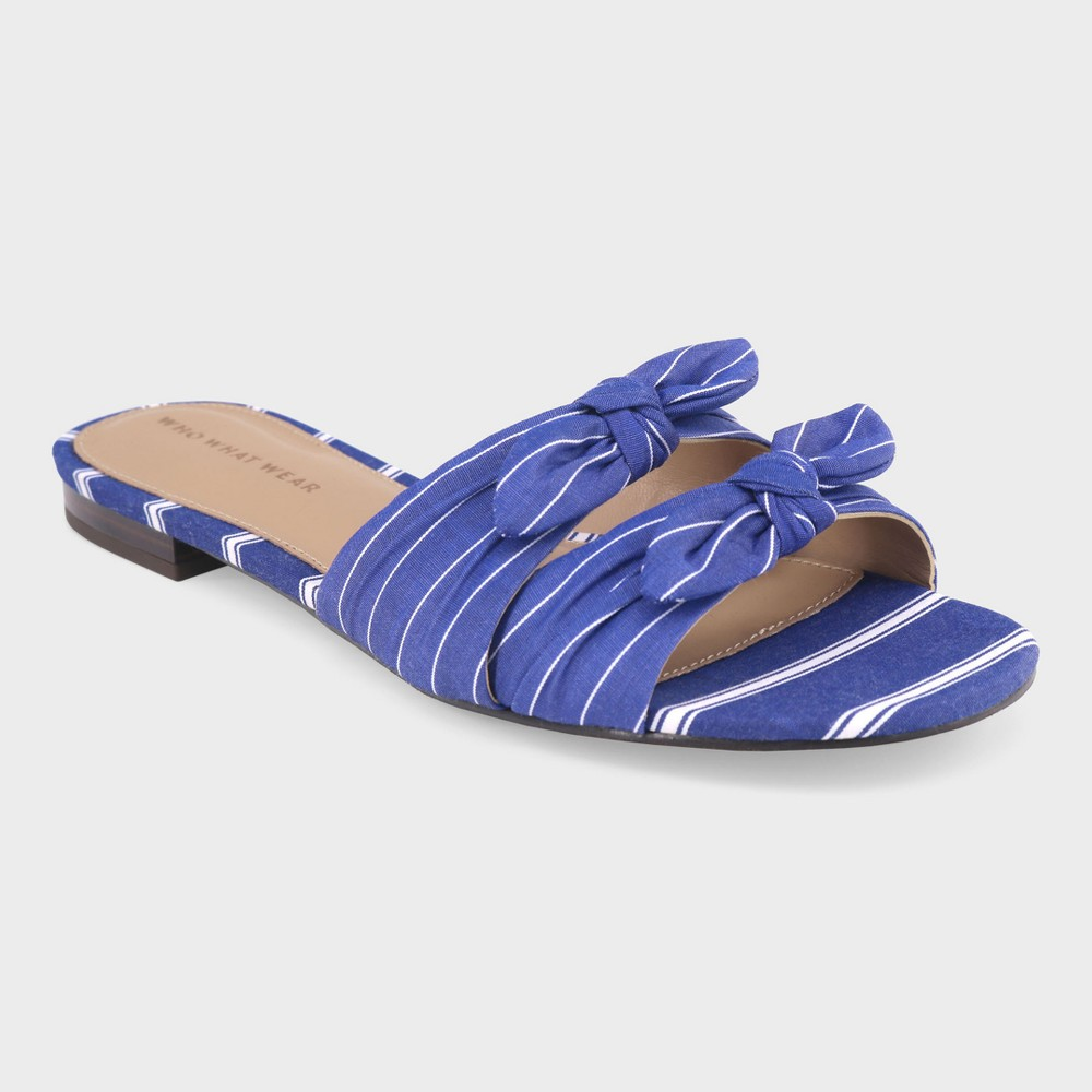 Women's Florence Striped Bow Slide Sandals - Who What Wear Blue 11