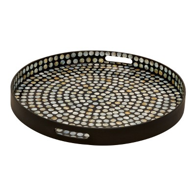 "3"" x 24"" Round Lacquer and Shell Tray with Handles Black/White - Olivia & May"