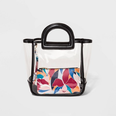 Tote Handbag With Printed Pouch - A New Day™ Clear