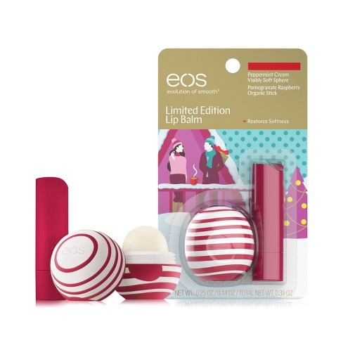 eos Lip Balm Sphere & Stick - Peppermint + Pomegranate Raspberry - 2pk - image 1 of 4