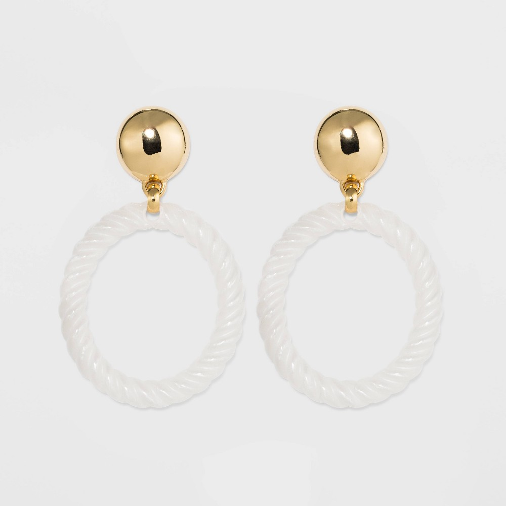 Image of SUGARFIX by BaubleBar Acrylic Braided Hoop Earrings with Gold Stud - White, Women's