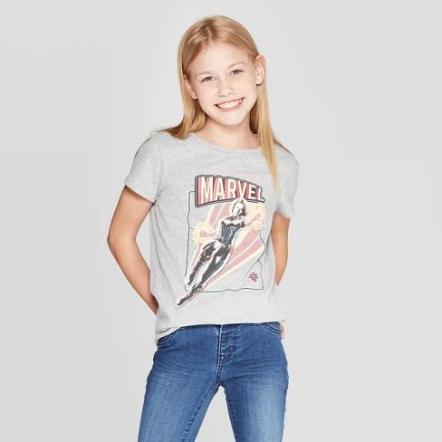 d9c44376286 Girls' Captain Marvel Short Sleeve T-Shirt - Heather Gray : Target
