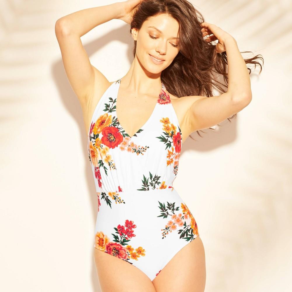 f1b491ceb2f Womens Tie Cross Back One Piece Swimsuit Kona Sol White Floral L