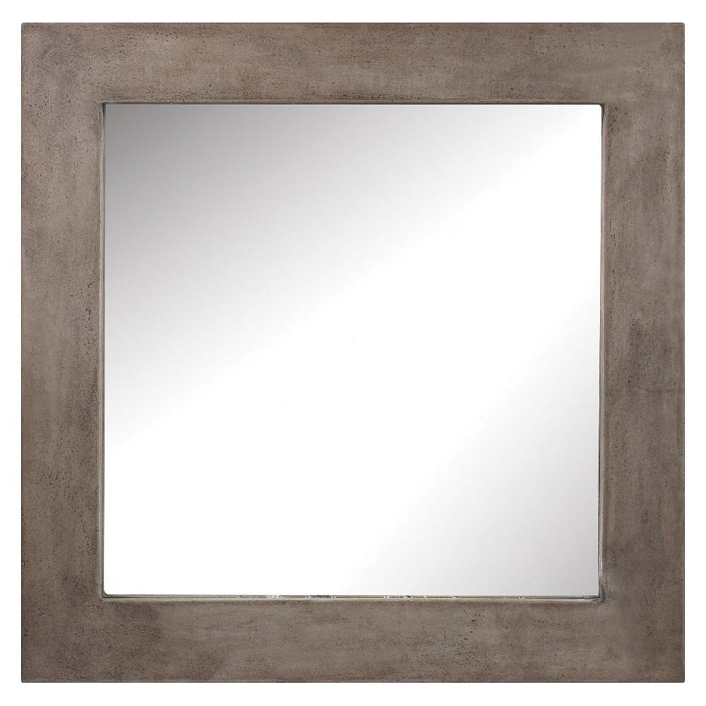 Square Cubo Concrete Decorative Wall Mirror Gray - Lazy Susan