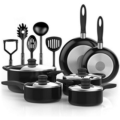Vremi Professional Nonstick Aluminum 4 Lidded Pots and 2 Pans Cookware Set with 5 Kitchen Cooking Utensil Accessories, 15 Total Pieces