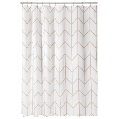 mDesign Chevron Print - Easy Care Fabric Shower Curtain