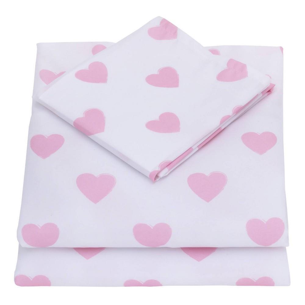 Image of Nojo 3pc Toddler Sheet Set Pink/White