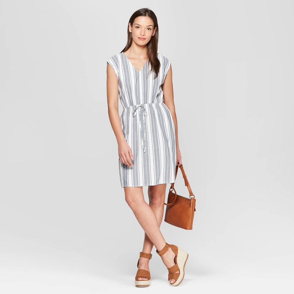 Women's Short Sleeve V-Neck Dolman Striped Dress - Universal Thread Blue L