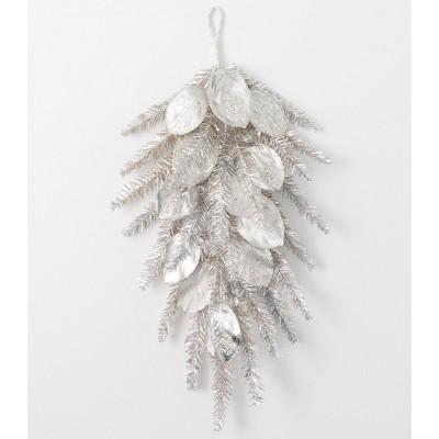 "Sullivans Artificial Pine and Magnolia Swag 31""H Silver"