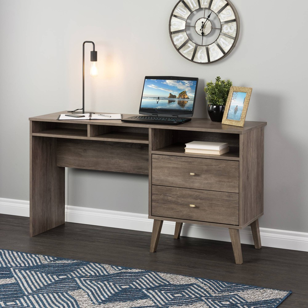 Milo Computer Desk With Side Storage And 2 Drawers Drifted Gray Prepac