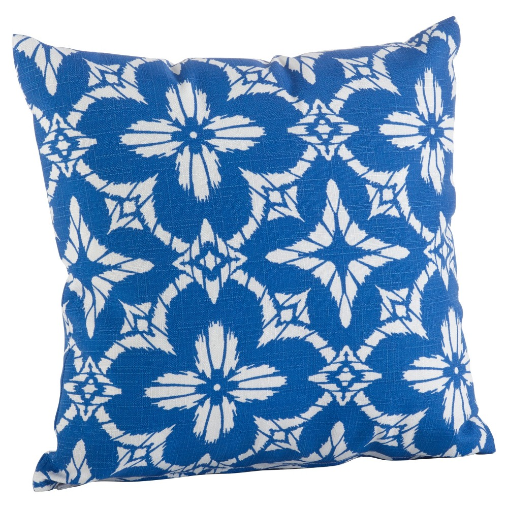 Blue Tile Print Indoor/Outdoor Poly Filled Throw Pillow (17) - Saro Lifestyle, Bright Blue