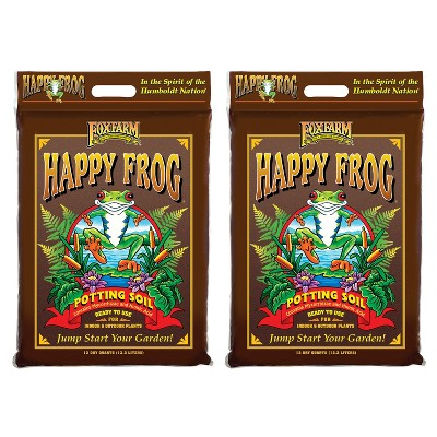 FoxFarm FX14054 Happy Frog Nutrient Rich and pH Adjusted Rapid Growth Garden Potting Soil Mix is Ready to Use, 12 quart (2 Pack)