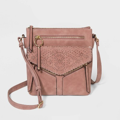 VR NYC Zip Closure Crossbody Bag - Pink