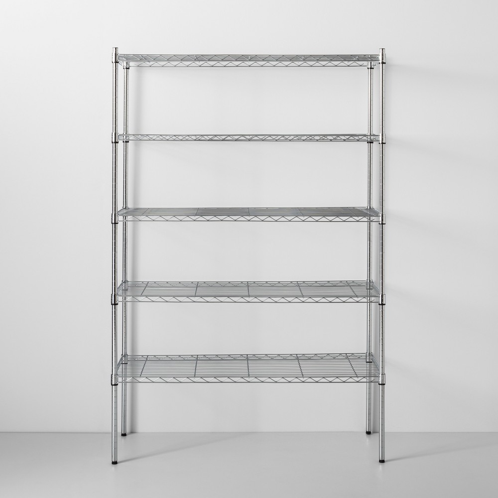 Image of 5 Tier Wide Wire Shelf Chrome - Made By Design , Grey