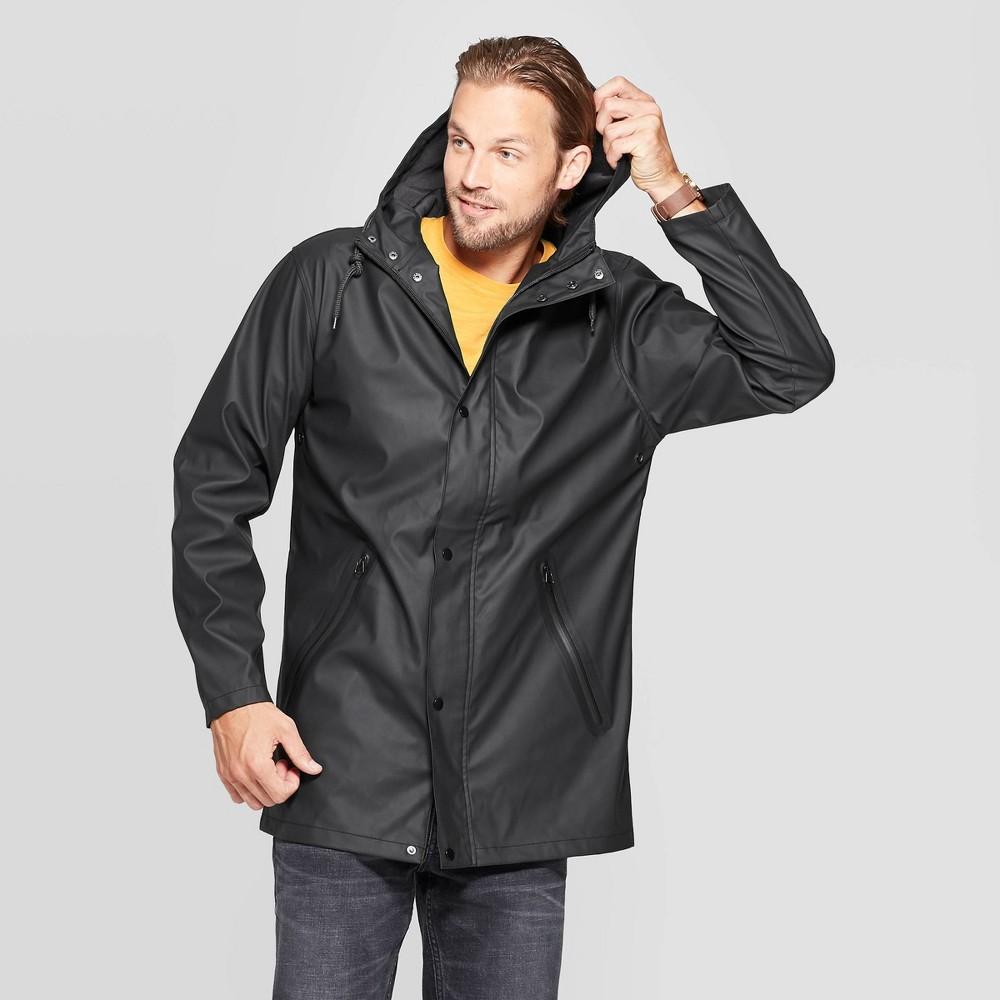 Image of Men's Relaxed Fit Hooded Rubberized Rain Jacket - Goodfellow & Co Black 2XL, Men's