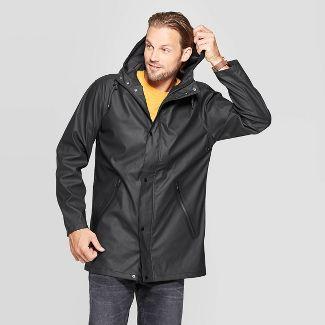 Men's Relaxed Fit Hooded Rubberized Rain Jacket - Goodfellow & Co™ Black XL