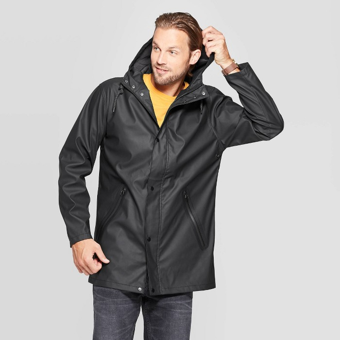 Men's Relaxed Fit Hooded Rubberized Rain Jacket - Goodfellow & Co™ Black - image 1 of 2
