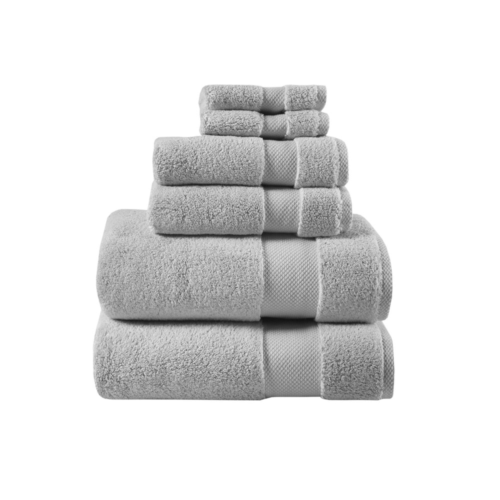 "Image of ""30""""x54"""" 6pc Luxor Egyptian Cotton Towel Set Gray"""