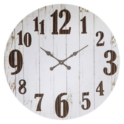 36  Round Metal Clock Vintage Wood Finish - 3R Studios®