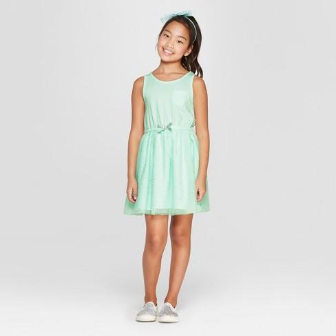 e62d96747c6 Girls  Stars Print A Line Dress - Cat   Jack™ Green XS   Target