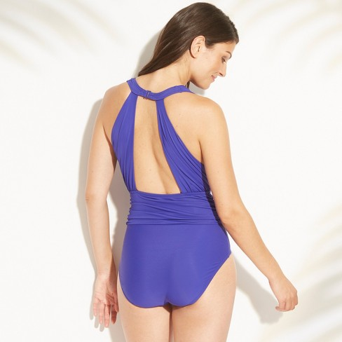 a43109aeee Women's Shirred Open Back One Piece Swimsuit - Aqua Green® Sapphire S :  Target