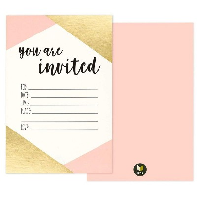 """Best Paper Greetings 36-Pack Pink & Gold Foil Minimalist """"You Are Invited"""" Invitation Cards for Party, 4 x 6 in"""