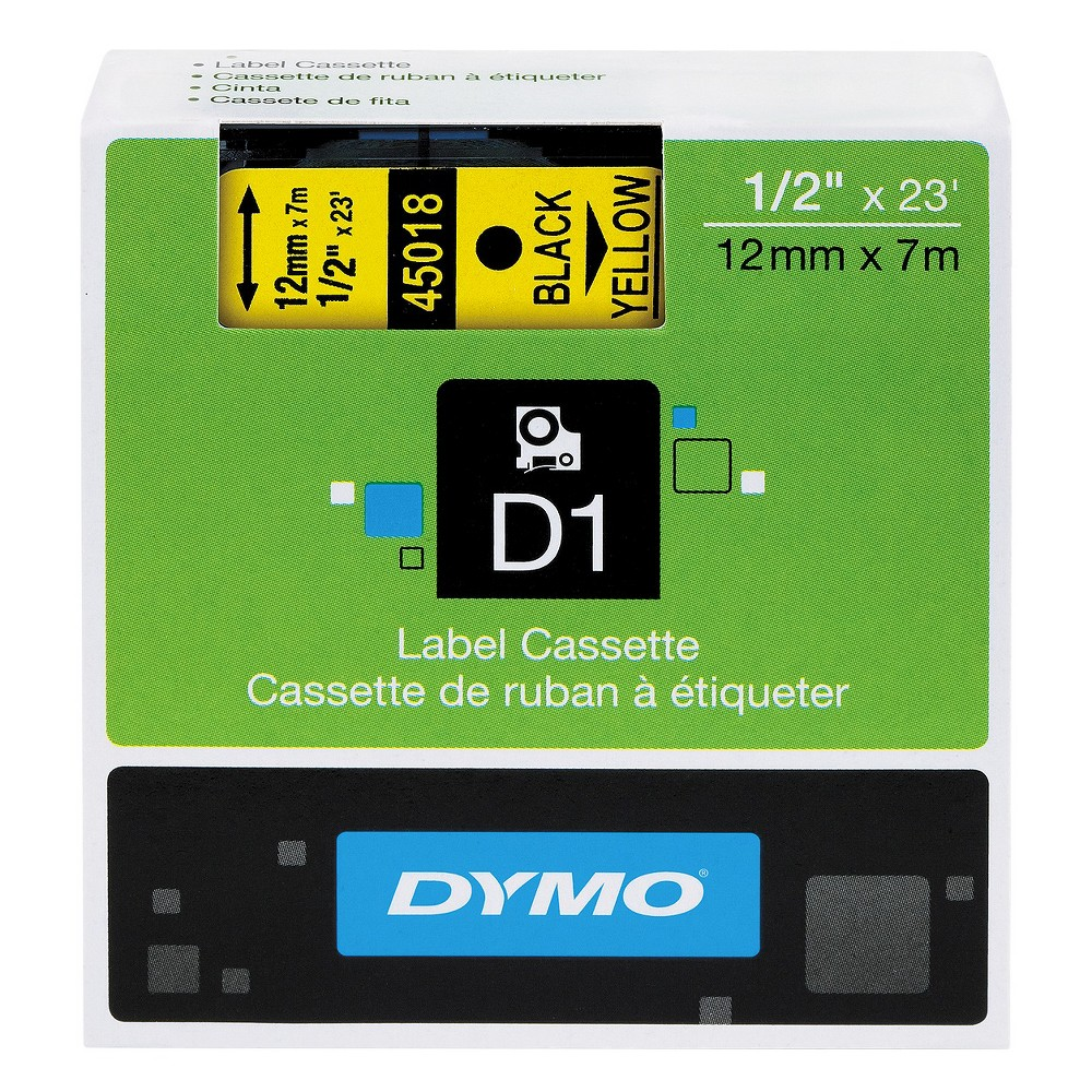 Image of DYMO D1 Standard Tape Cartridge for Dymo Label Makers - 1/2in x 23ft - Black on Yellow