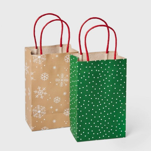2ct Christmas Gift Bags Green Dots and White Snowflakes - Wondershop™ - image 1 of 3