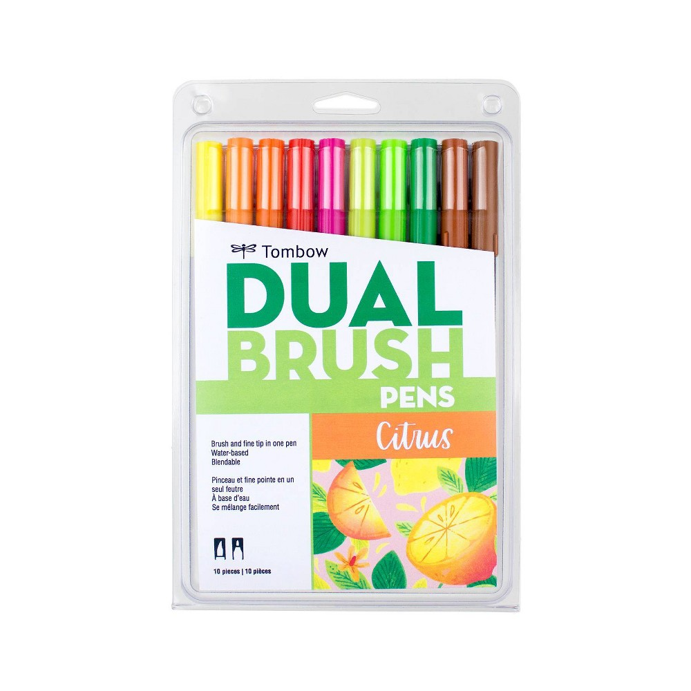 Image of 10ct Pen Set Dual Brush Citrus - Tombow, Black Gray Multicolored