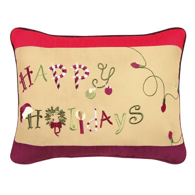 """C&F Home 12"""" x 16"""" Happy Holidays Embroidered Pillow"""
