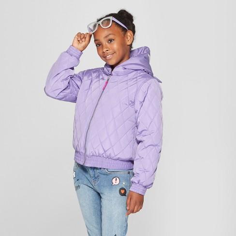 Girls  Animal Puffer Jacket - Cat   Jack™ Violet   Target 840a6c078