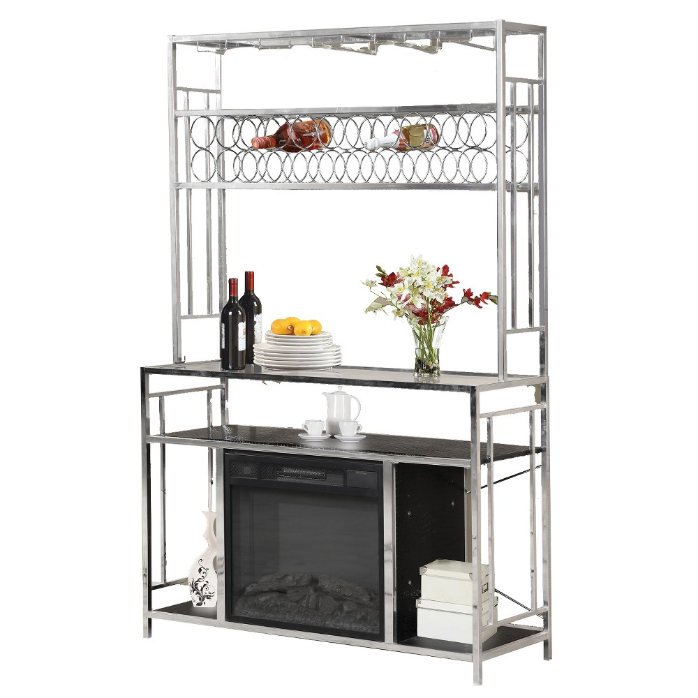 Image of Bar with Fireplace - Metal - Silver - Home Source Industries