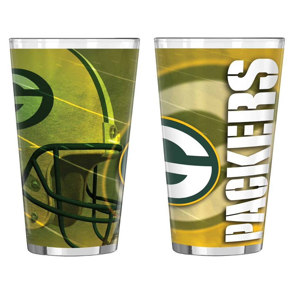 NFL Shadow Style Pint Glass 16oz 2pk - Green Bay Packers