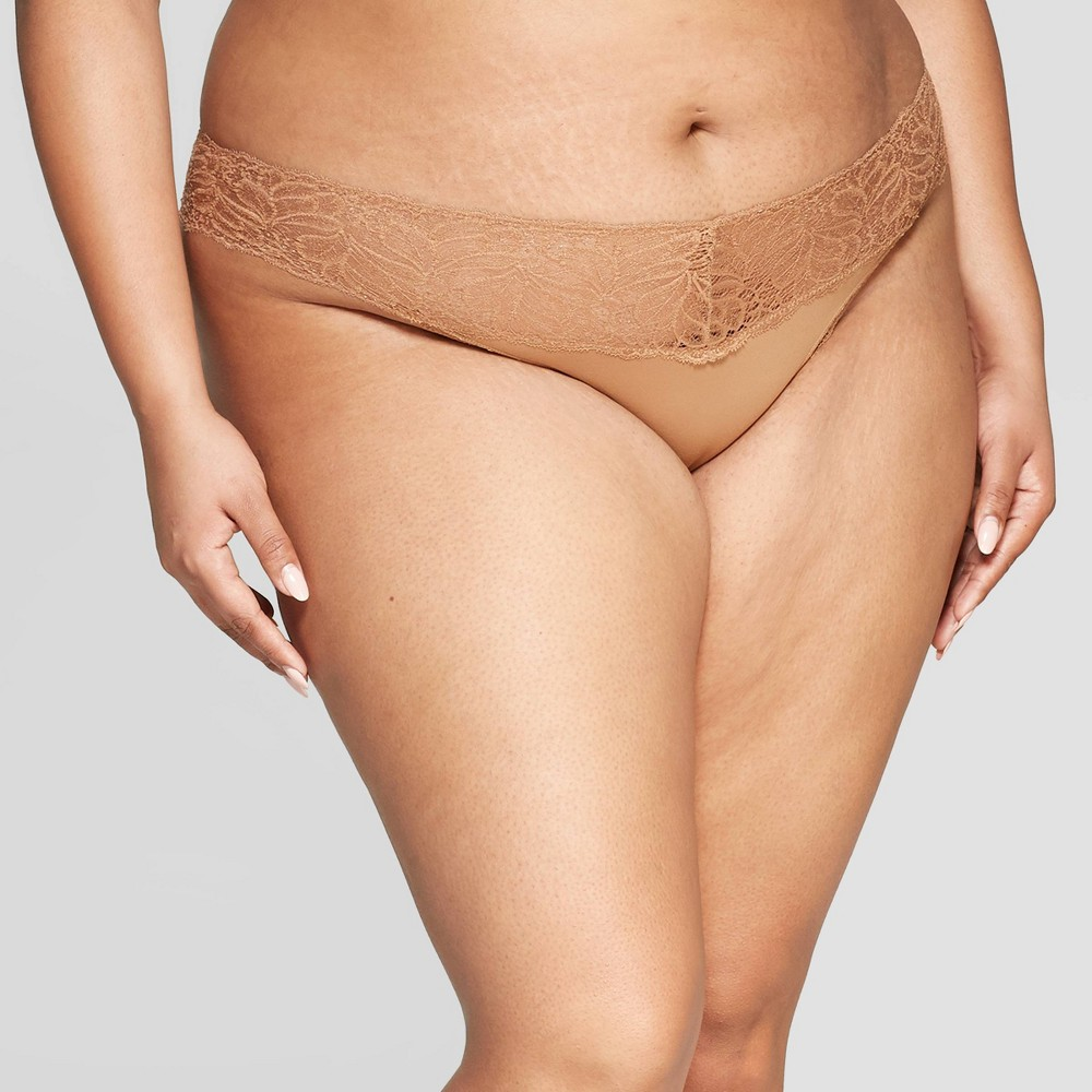 Women's Plus Size Micro Thong with Lace Waistband - Auden Caramel 4X