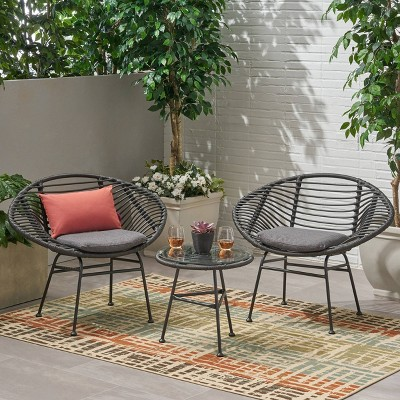 3pc Meridian Faux Wicker Patio Chat Set - Gray - Christopher Knight Home