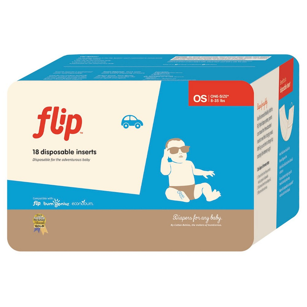 Flip 4pk (18ct) Disposable Diaper Inserts - 72ct, Panna Cream