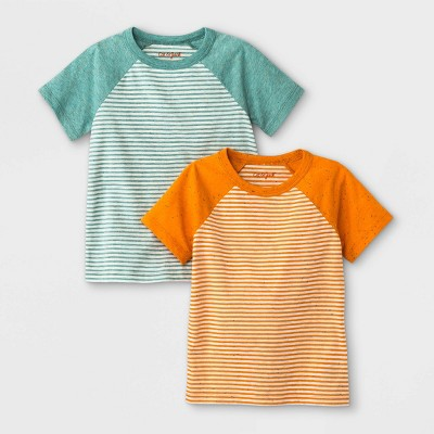 Toddler Boys' 2pk Striped Raglan Short Sleeve T-Shirt - Cat & Jack™ Orange/Green