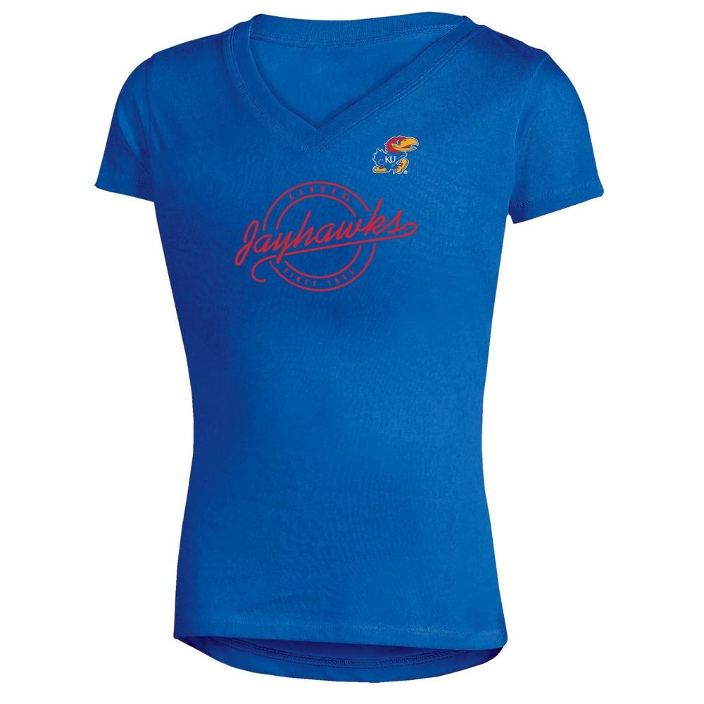 Kansas Jayhawks Girls Short Sleeve Puff Print V-Neck Tunic T-Shirt L, Multicolored