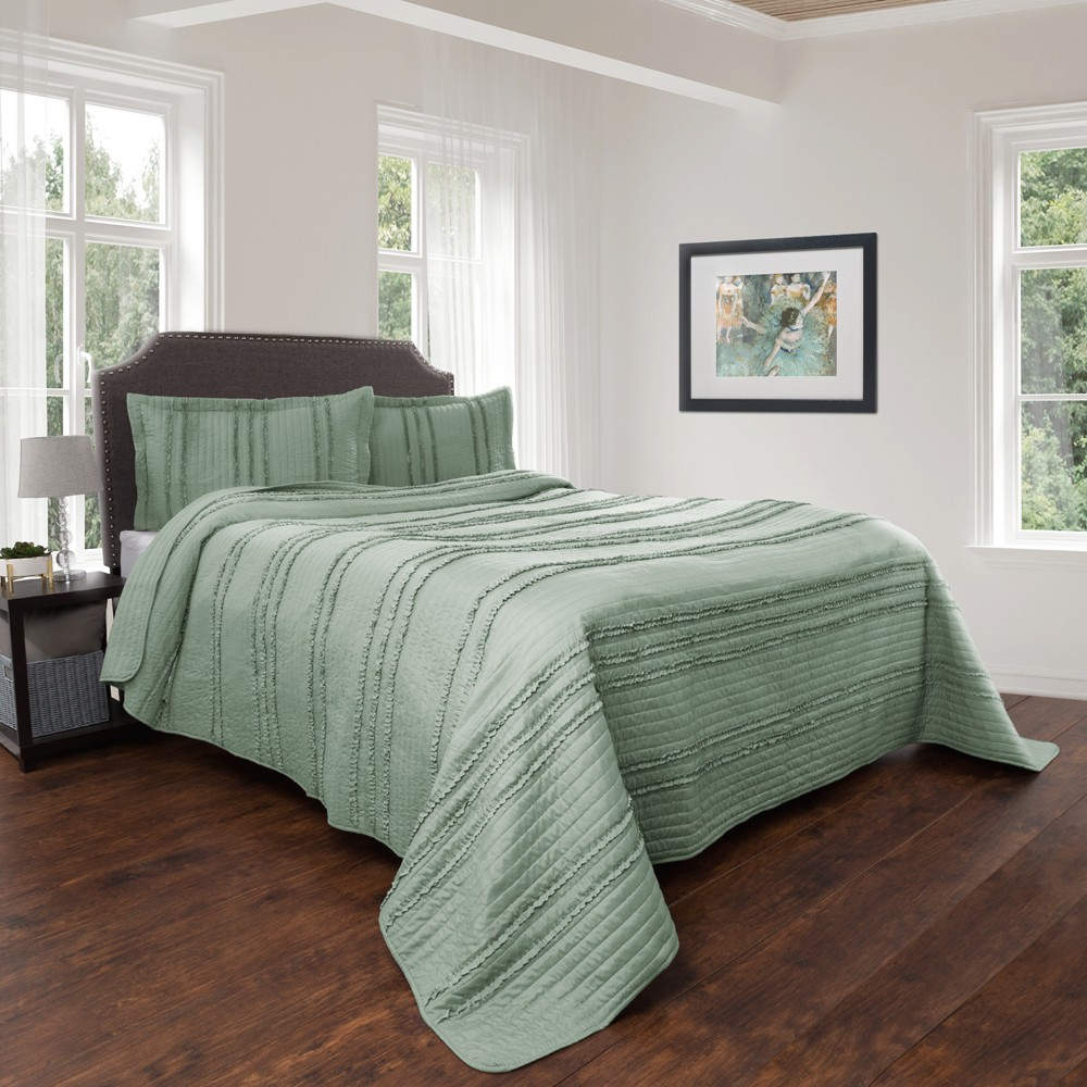 3pc Full/Queen Hypoallergenic Oversized Striped Ruffle Design Quilt Set Green - Kadyn Series By Yorkshire Home