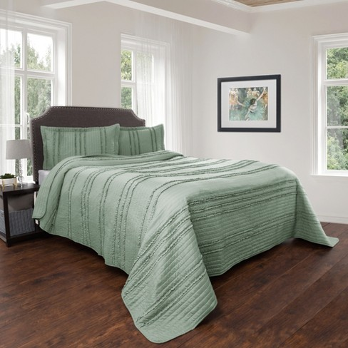 Hypoallergenic Striped Ruffle Design Quilt Set - Kadyn Series By Yorkshire Home - image 1 of 4