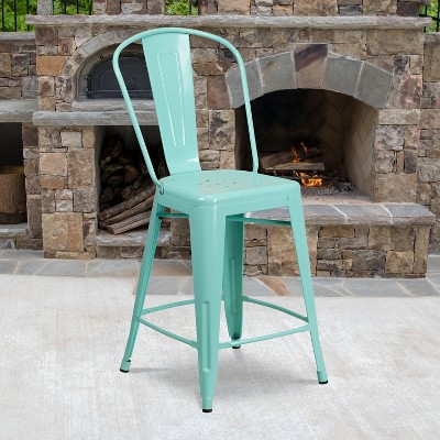 "Emma and Oliver Commercial Grade 24""H Metal Indoor-Outdoor Counter Stool w/ Drain Holes and Back"
