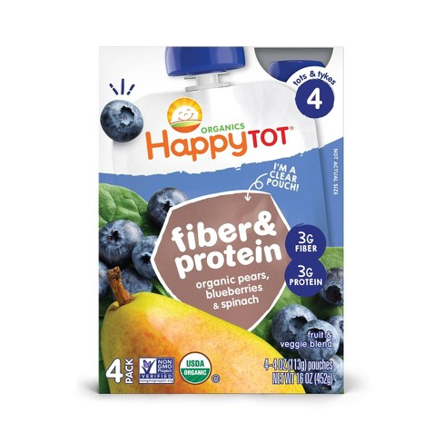 HappyTot Fiber & Protein 4pk Organic Pears Blueberries Spinach Baby Food - 16oz - image 1 of 3