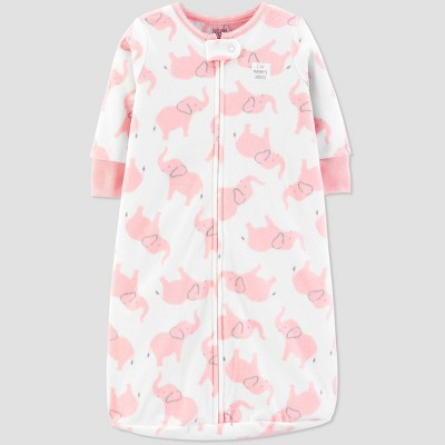 Baby Girls' Elephant Sleepbag 1pc Pajama - Just One You® made by carter's White/Pink One Size