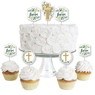 Big Dot of Happiness Baptism Elegant Cross - Dessert Cupcake Toppers - Religious Party Clear Treat Picks - Set of 24