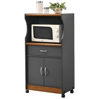 Microwave Kitchen Cart in Gray Oak - Hodedah