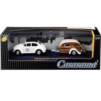 Volkswagen Beetle Racing #53 with Caravan III Travel Trailer in Display Showcase 1/72 Diecast Model Car by Cararama