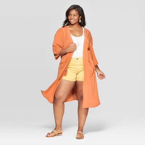 Women's Plus Size Kimono - Universal Thread™ Orange - image 1 of 2