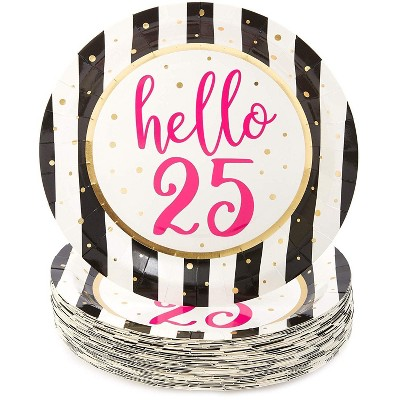 """Sparkle and Bash 48 Packs Hello 25 Birthday Party Disposable Paper Plates 9"""" for Lunch Dinner"""